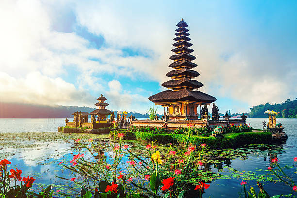 Bali Water Temple - Pura Ulun Danu Pura Ulun Danu Temple on lake Brataan indonesia stock pictures, royalty-free photos & images
