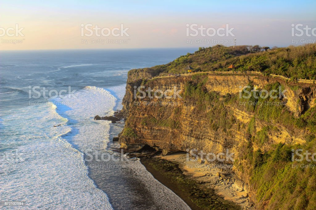 Bali waterfront cliff side stock photo