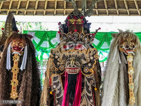 Bali, August 2019 - Barong is a panther-like creature and character in the Balinese mythology of Bali, Indonesia. He is the king of the spirits, leader of the hosts of good, and enemy of Rangda, the demon queen and mother of all spirit guarders in the mythological traditions of Bali.
