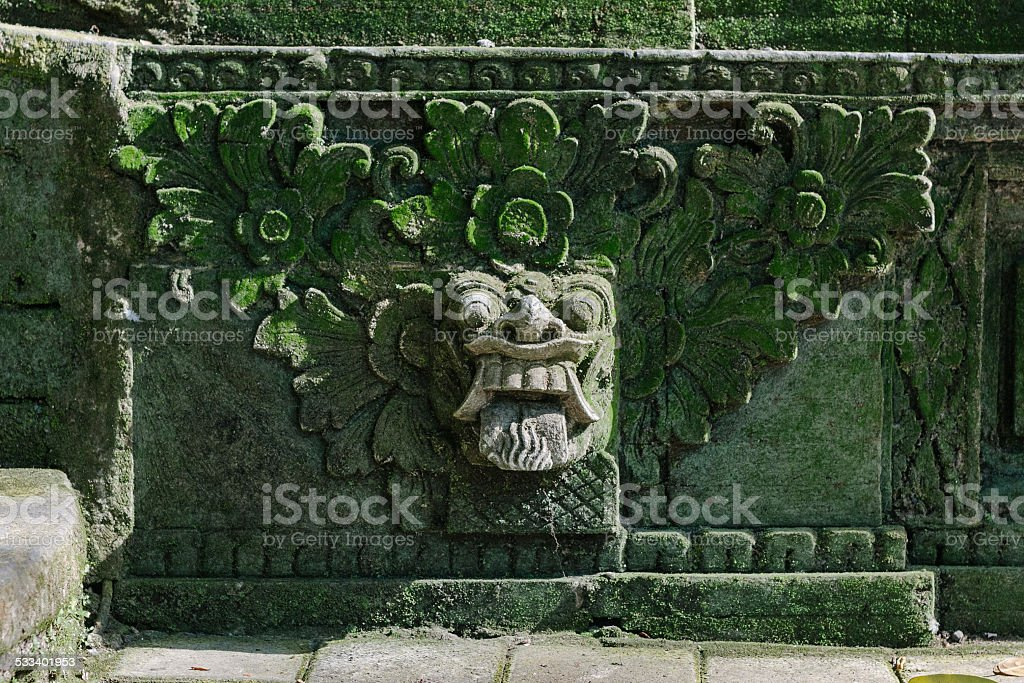 Balinese Barong statue in the sacred monkey forest in Ubud stock photo
