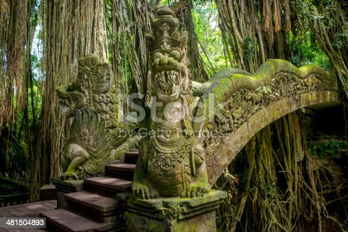 This is an image of a carved stone Balinese bridge in Ubud, Bali.