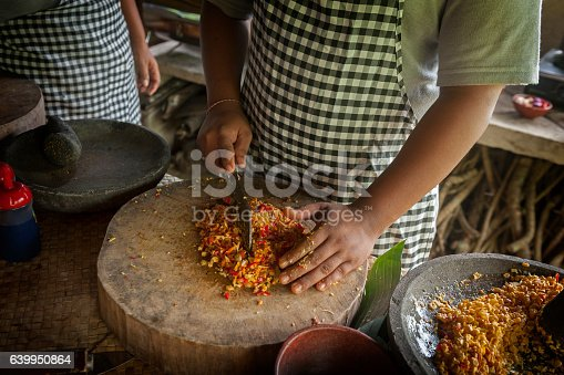 Food in Bali is a complicated process with lots of chopping and preparation and mixing of exotic spices. Cooking classes are held in many of the hotels and restaurants.