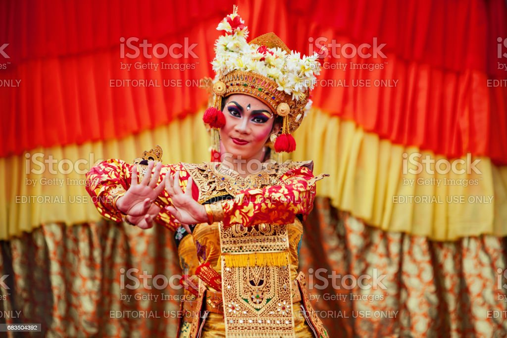Balinese dancer women in traditional costume stock photo