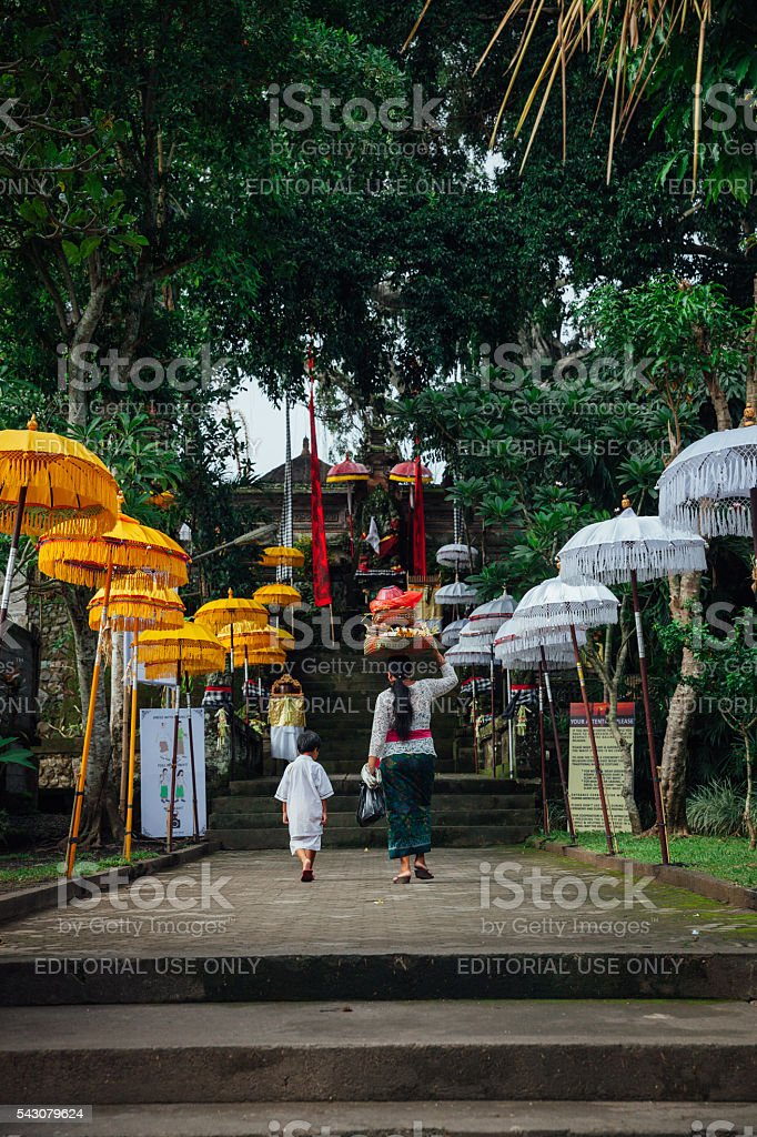 Balinese family going to the temple, Ubud, Bali royalty-free stock photo