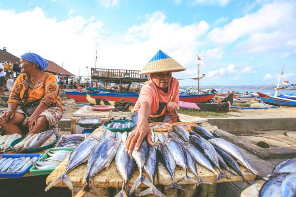 balinesa pescadero vende pescado en la playa de jimbaran - pez sierra fotografías e imágenes de stock