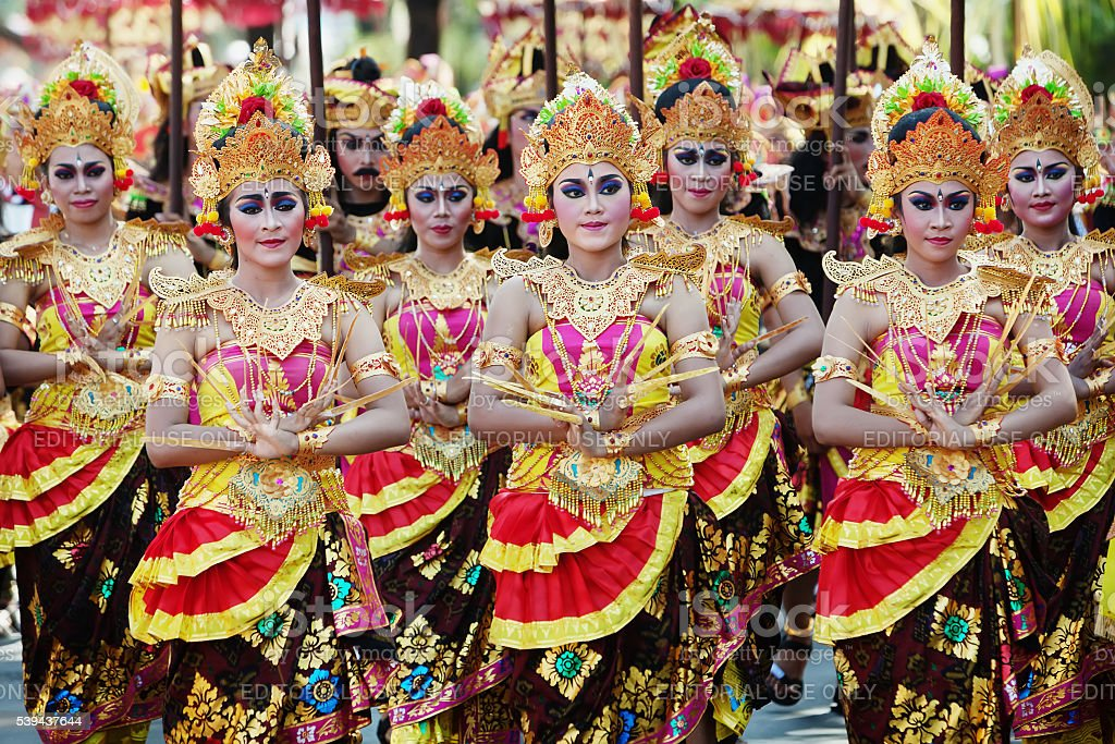 Balinese girls in traditional balinese costumes stock photo