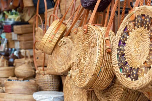 Balinese handmade rattan eco bags stock photo