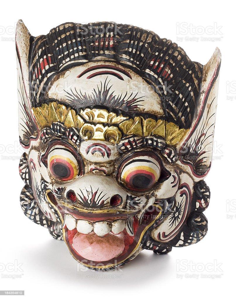 Balinese Hindu Barong mask isolated on a white background stock photo