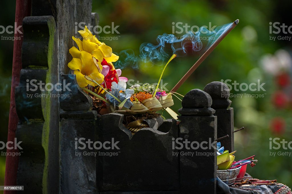Balinese Hindu Offerings Called Canang stock photo