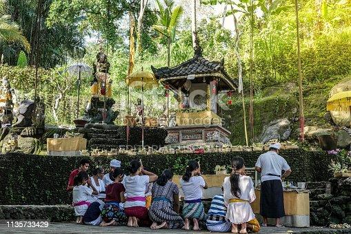 Bali, March 2019 - Balinese Hindu People Praying at Temple in Sangeh