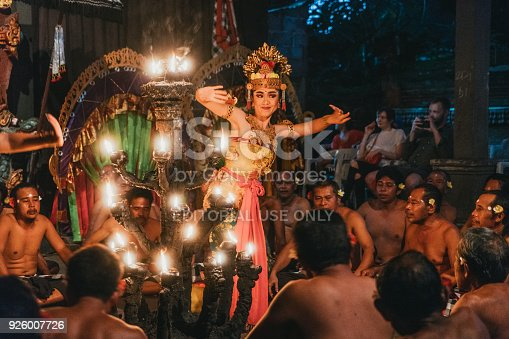 Pura Dalem Taman Kaja, Ubud, Bali, Indonesia - February 10, 2018: Balinese kecak fire dance performance in Pura Dalem Taman Kaja temple at sunset
