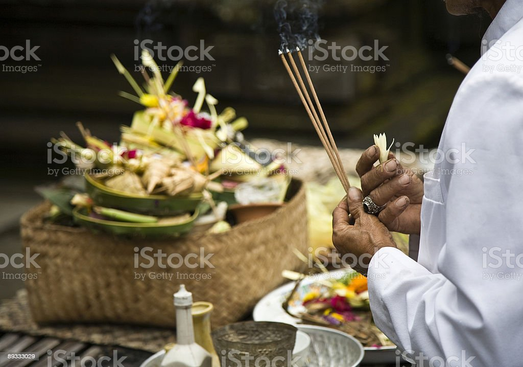 Balinese offering stock photo