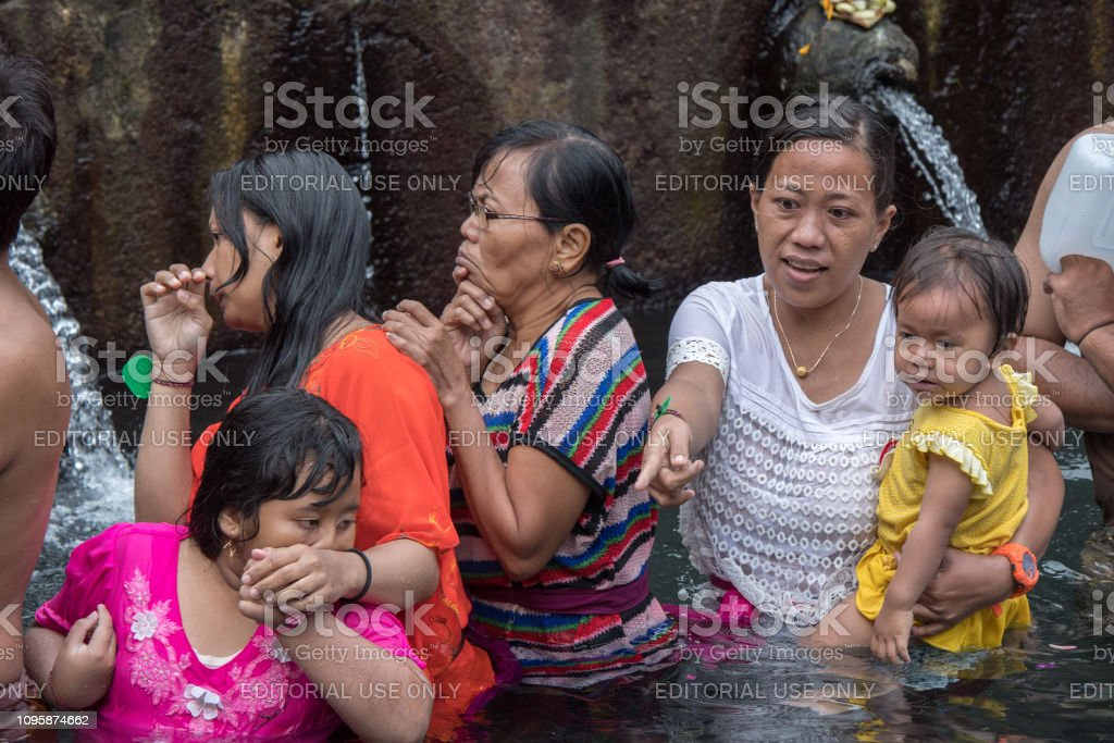 Pura Tirta Empul Bali Indonesia August 17 2016 Balinese