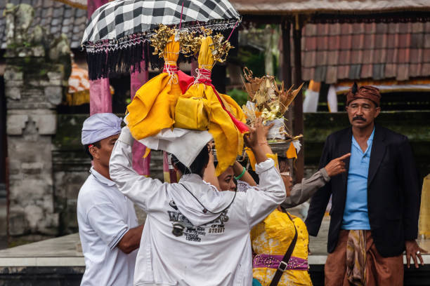 Balinese people during the traditional festival stock photo