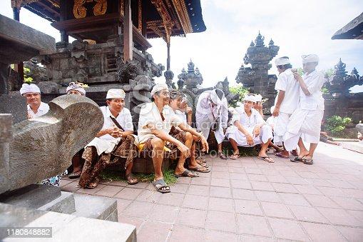 Bali, Indonesia-Nov 08, 2012: Balinese pray inside the temple in Bali, Indonesia.