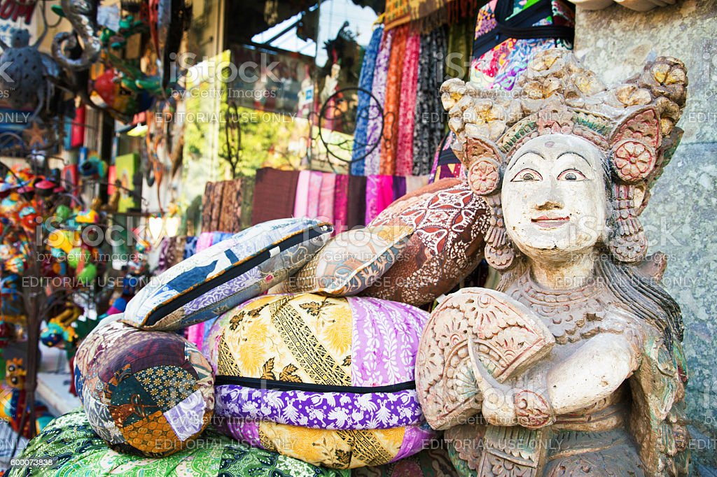 Balinese statue at the entrance of Ubud street market stock photo