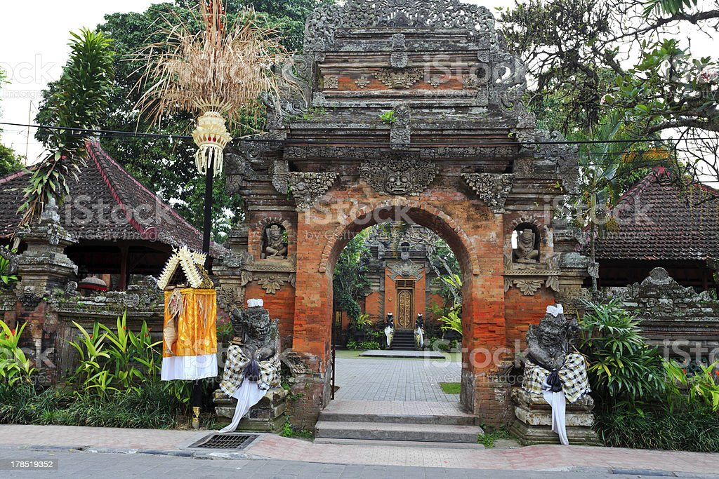 balinese style architecture of the palace in ubud royalty-free stock photo