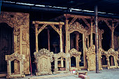 Store, For Sale, Wood Work - Beautifully carved wooden door frames for sale at a local store in Bali