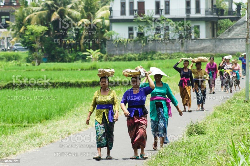 Balinese Woman Bringing Sesajen stock photo