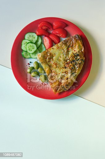 istock Balkan cuisine. Burek - pie with filling - popular national dish 1089487082