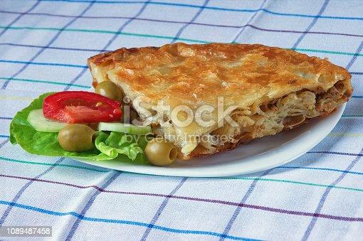 istock Balkan cuisine. Burek - pie with filling - popular national dish 1089487458
