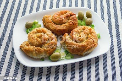 istock Balkan cuisine. Burek - pie with filling - popular national dish 1152693312