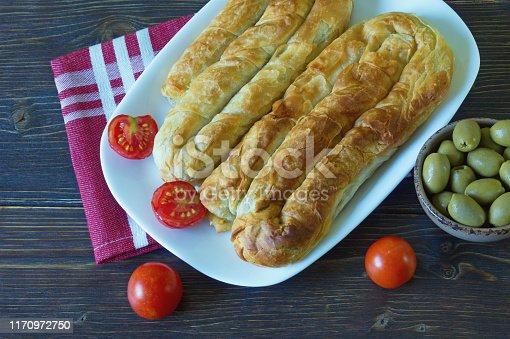 istock Balkan cuisine. Burek - pie with filling - popular national dish 1170972750