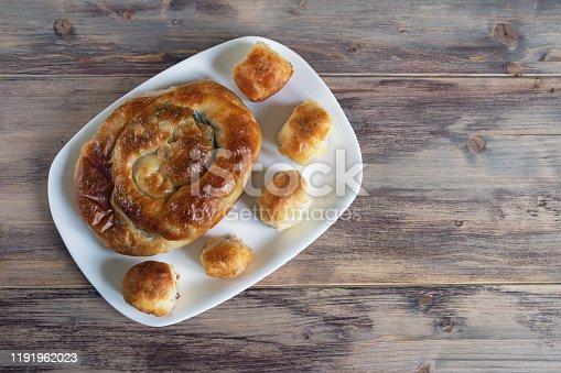 istock Balkan cuisine. Burek - pie with filling - popular national dish 1191962023