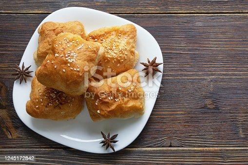 istock Balkan cuisine. Mantije ( manti ) - pastry,  popular national dish 1245172842