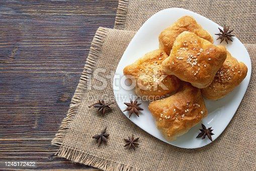 istock Balkan cuisine. Mantije - pie with filling - popular national dish 1245172422