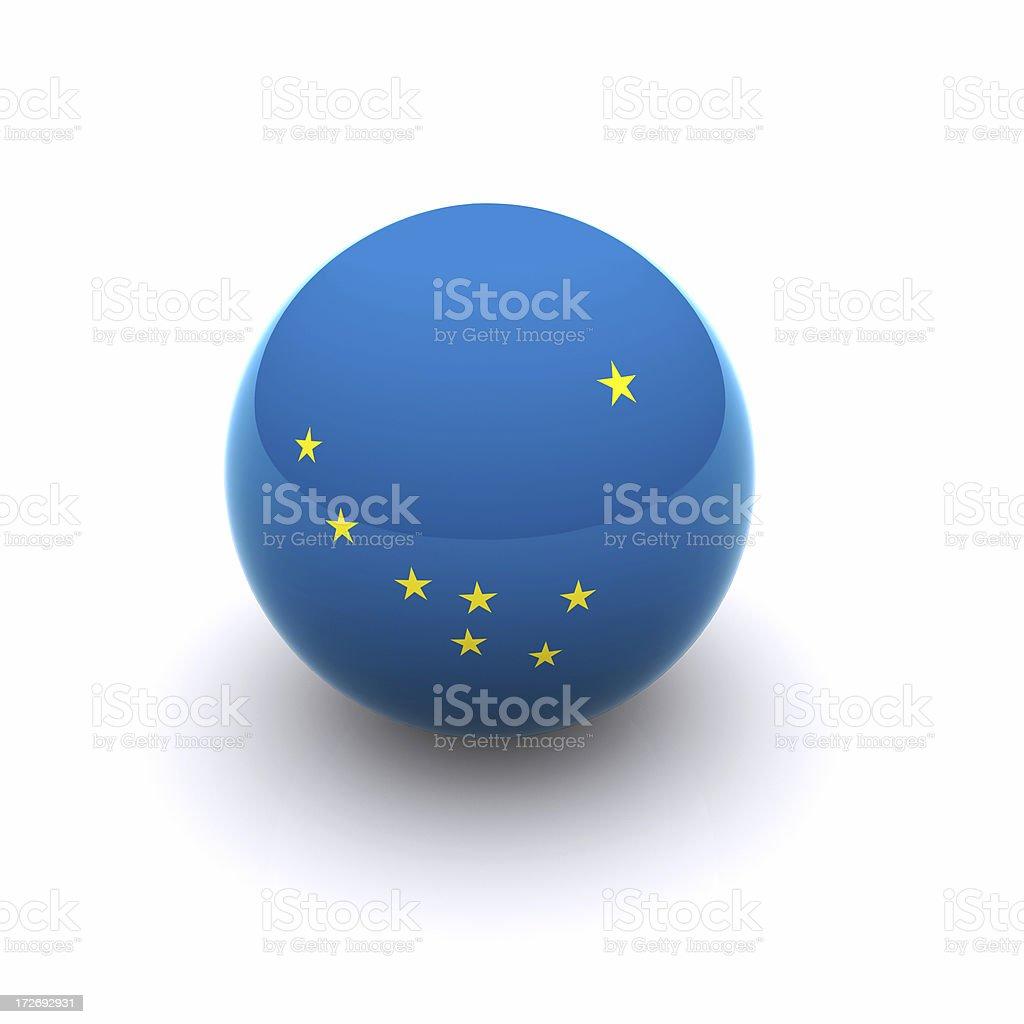 3D Ball - Alaska Flag 3D Ball - Alaska Flag on white background Alaska - US State Stock Photo