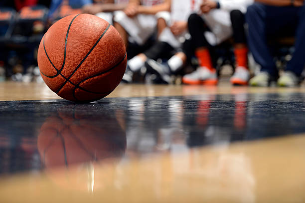 ball and basketball court - basketball ball stock photos and pictures