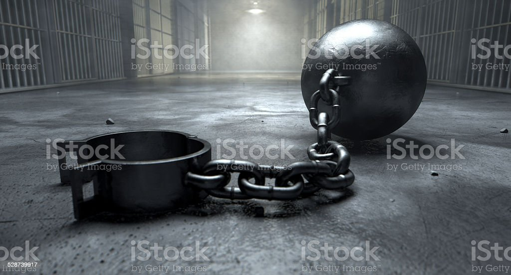 Ball And Chain In Prison stock photo