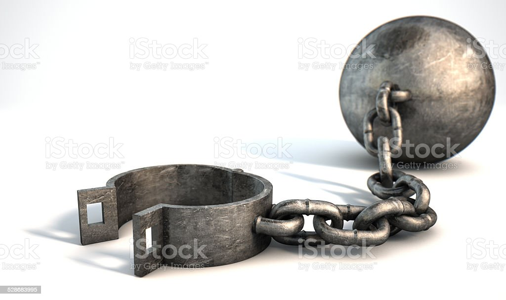 Ball And Chain Isolated stock photo