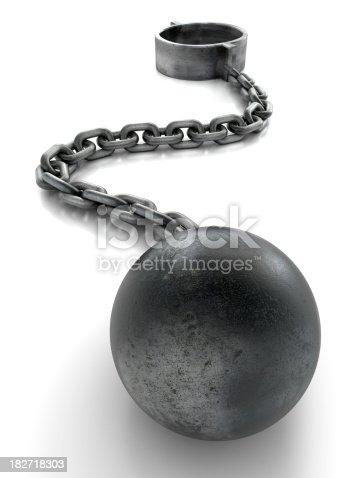 Ball and chain isolated with clipping path