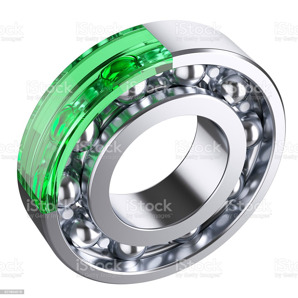 Ball bearing with cut form glass fragment stock photo
