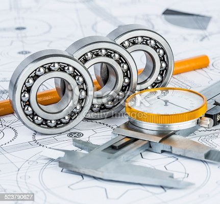 istock Ball bearings on technical drawing 523790627