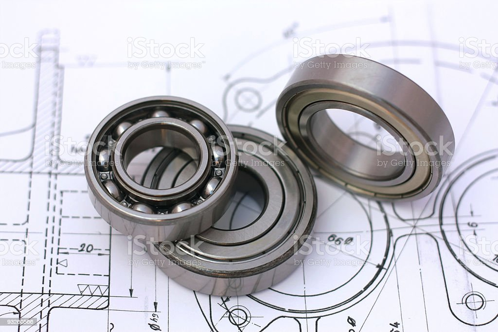 Ball bearings on technical drawing royalty-free stock photo