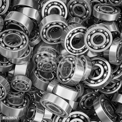 metal ball bearings heap directly above view.