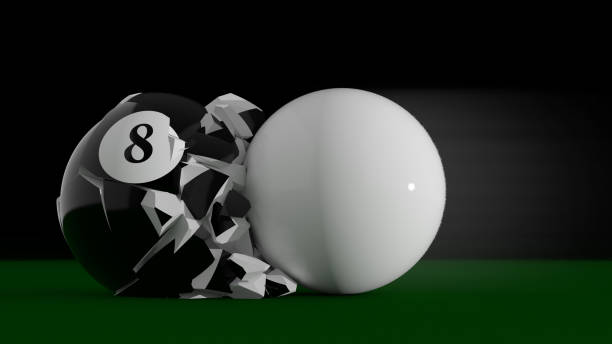 boule n°8 collision - cue ball stock pictures, royalty-free photos & images