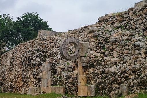 Ball court (Juego de Pelota) at the ruins of the ancient Mayan city Uxmal, Mexico
