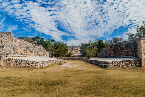 Ball court Juego de Pelota and Nun's Quadrangle Cuadrangulo de las Monjas in the background at the ruins of the ancient Mayan city Uxmal, Mexi
