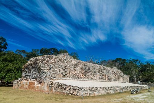 Ball court Juego de Pelota at the ruins of the ancient Mayan city Uxmal, Mexi