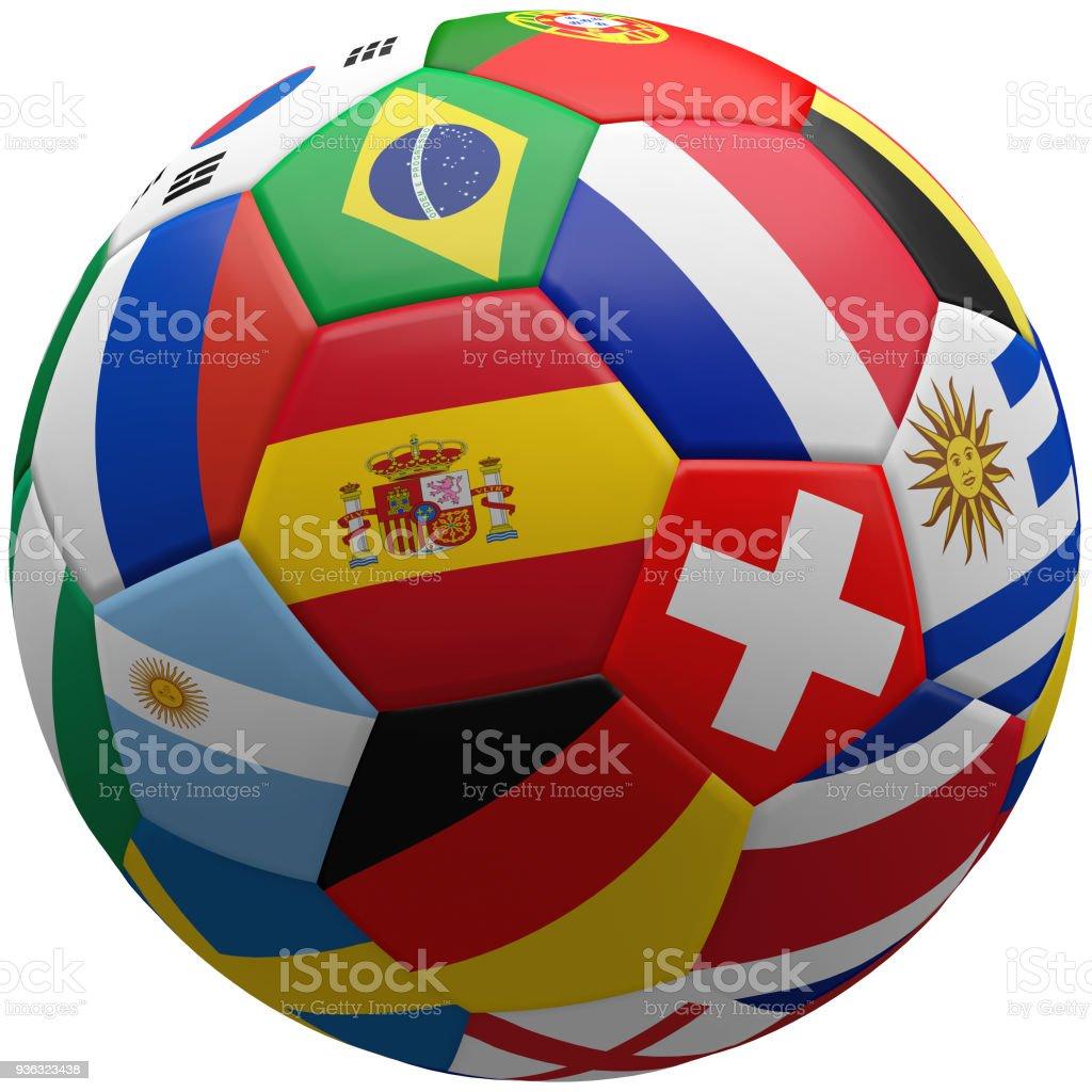 bola 3d representación de banderas - foto de stock