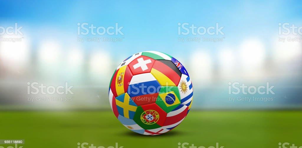 Estadio de fútbol bola banderas 3d renderizado - foto de stock