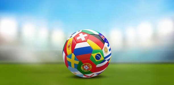 ball flaggor 3d rendering fotbollsstadion - football portugal flag bildbanksfoton och bilder