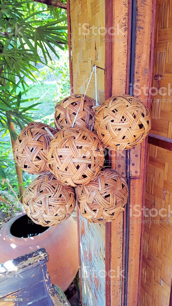 A Ball for a game Sepak takraw. stock photo
