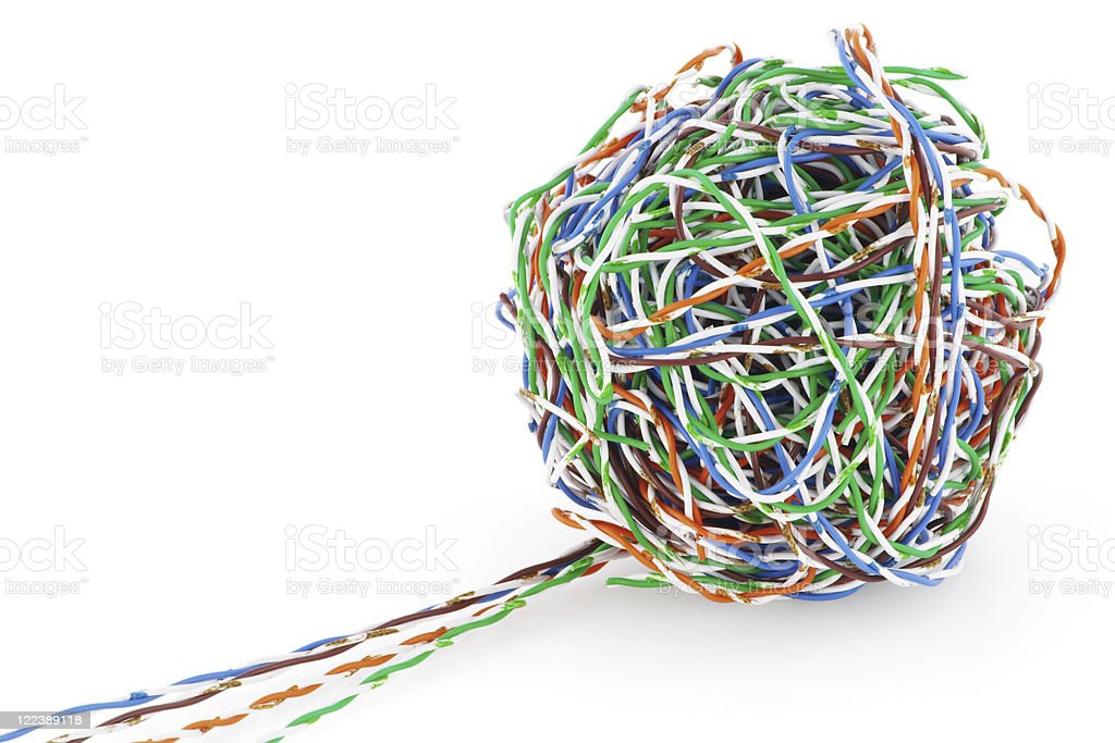 Ball from a cable twisted pair royalty-free stock photo