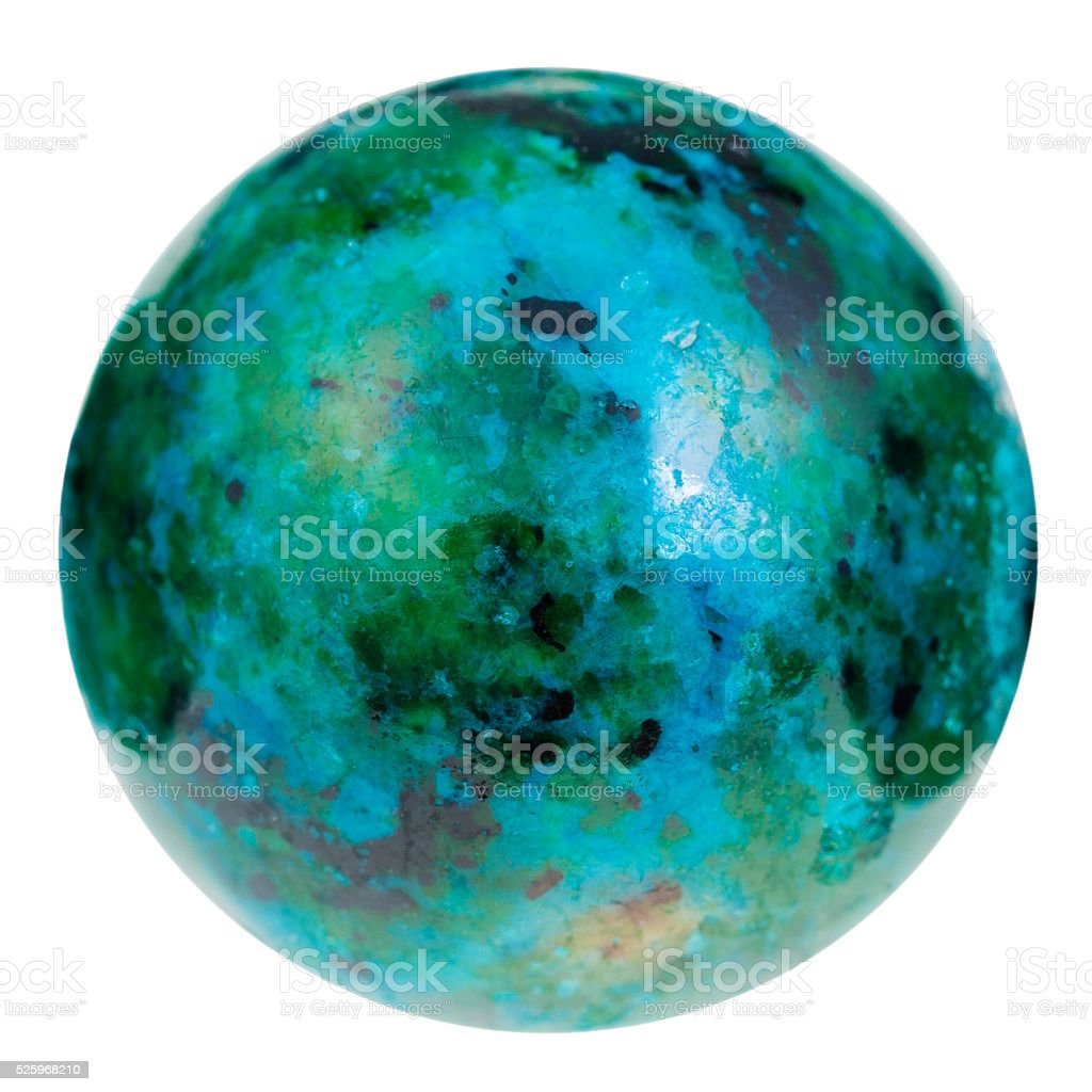 ball from green and blue chrysocolla gemstone stock photo