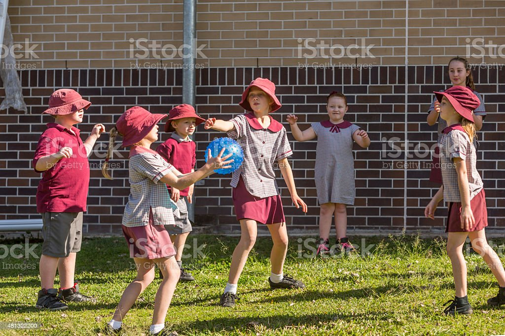 Ball Games Being Played By School Children stock photo